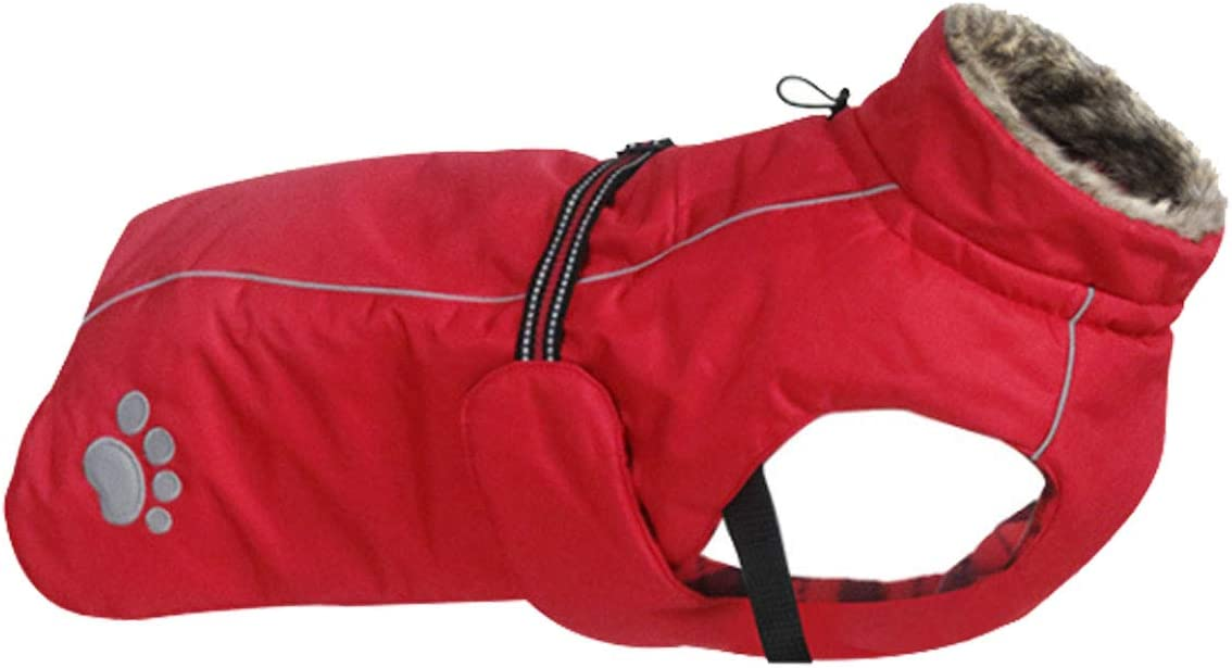 Outdoor Dog Apparel with Adjustable Bands and Drawstring in winter Morezi Dog Coats Waterproof Red Dog Winter Coat with Padded Fleece Lining S