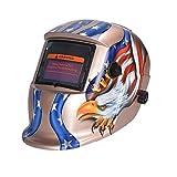 Nuzamas Solar Powered Auto Darkening Welding Helmet Mask Weld Eagle Face Protection for Arc Tig Mig Grinding Plasma Cutting with Adjustable Shade Range DIN4/9-13 UV/IV protection DIN16