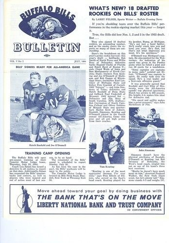 1964 July Buffalo Bills Bulletin (1964 Buffalo Bills)