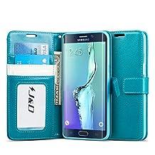 Galaxy S6 Edge Plus Case, J&D [Stand View] Samsung Galaxy S6 Edge Plus Wallet Case [Slim Fit] [Stand Feature] Premium Protective Case Wallet Leather Case for Samsung Galaxy S6 Edge Plus (Incompatible with Galaxy S6 Edge) (Aqua)