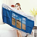Anhounine Bathroom Towels House Decor Sand View From Window Of Spain Beach Distant Hill Plants Sand Touristic Bath Pool Shower Towel for Kids 55''x27.5''