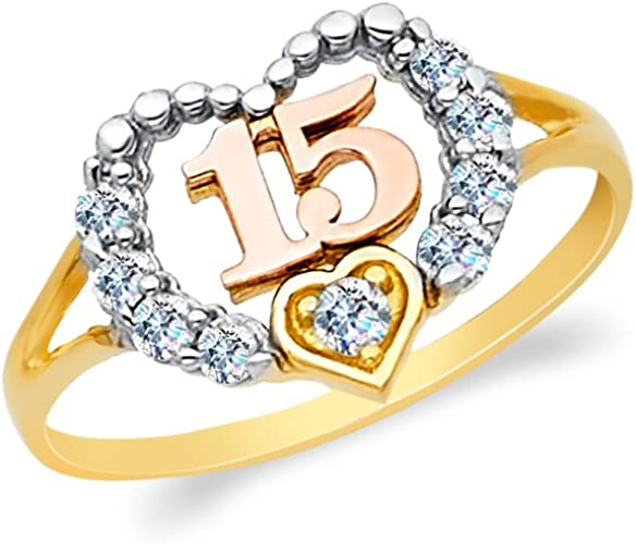 14K Two Tone Solid Gold 15 Years Birthday Tri Heart CZ Quinceanera Ring Ioka