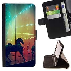 Momo Phone Case / Flip Funda de Cuero Case Cover - Caballo del arco iris Feria País Ride - HTC DESIRE 816