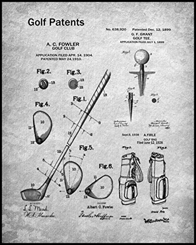 The Print Archives Golf Patent Collage Framed - Gray
