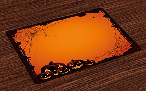 (Ambesonne Halloween Place Mats Set of 4, Grunge Spider Web Jack o Lanterns Horror Time of Year Trick or Treat Print, Washable Fabric Placemats for Dining Room Kitchen Table Decor,)
