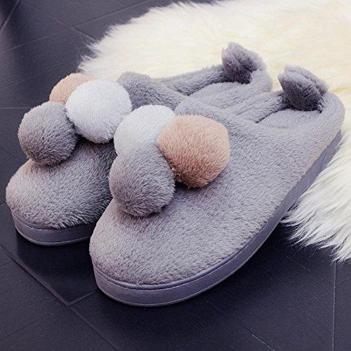 Fankou il creative paio di pantofole di cotone uomini pacchetto con linverno piscina home dormire scarpe Jane ha un antiscivolo tendenza moda ,39-40, (grigio)