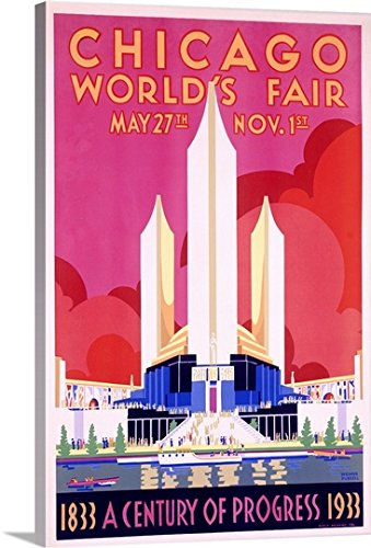 Canvas On Demand Premium Thick-Wrap Canvas Wall Art Print entitled Worlds Fair, Chicago, 1933, Vintage Poster, by Weimer Pursell (Chicago Worlds Fair Framed Art)