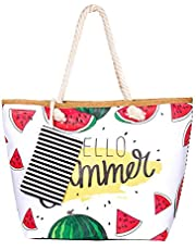 Beach Bag, Zedela Womens Large Summer Canvas Tote Bag,Holiday Tote Bags Shoulder Bag with Zipper Top,Shopping Bag