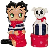 This Betty Boop and pudgy salt and pepper shaker set is an adorable addition to your table setting. This hand painted ceramic set features Betty Boop dressed in black and white striped shirt with red skirt, scarf and handbag and her dog pudgy on a st...