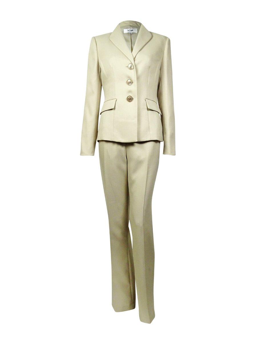 Le Suit Women's Herringbone Three-Button Pant Suit Set @205 Beige 18