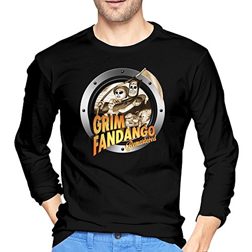 Mans Grim Fandango Remastered Black Long Sleeve Tshirt (Fandango Card Gift)