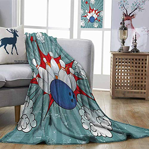 Zmstroy Cozy Flannel Blanket Bowling Party Retro Comic Cartoon Ball Crash Image Pop Art Stars Aim Party Game Design Multicolor Digital Printing Blanket W54 xL84]()