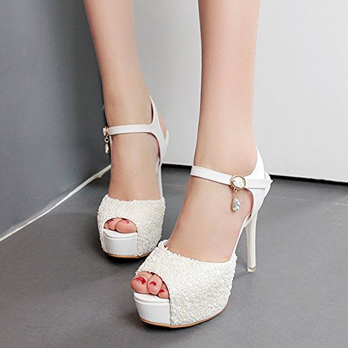 Buckle Heel Sequill Women Heels Heel white High Sandals Platform AGECC Superhigh Waterproof Fine aFwqWCz