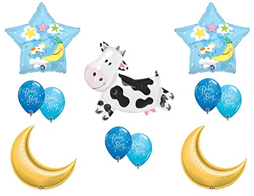 NEW! Hey Diddle Diddle Baby Boy Shower Balloons Cow Nursery Rhyme (Nursery Rhyme Decorations)