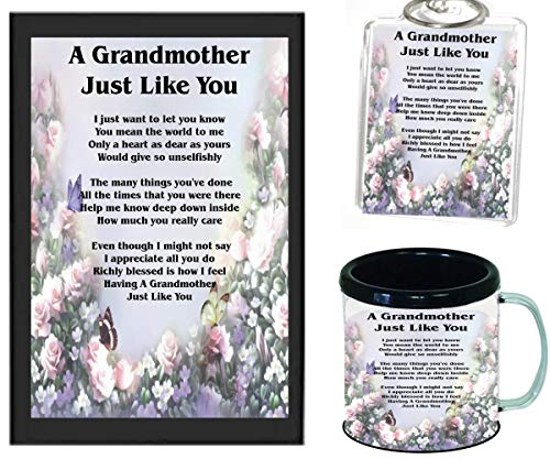 A GRANDMOTHER JUST LIKE YOU POEM | JUST IN TIME FOR CHRISTMAS GIFT | 11OZ BLACK | COFFEE CUP & PHOTO KEYCHAIN ARTWORK MUG BUNDLE