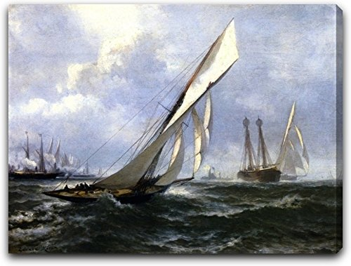 """Yacht Hurry by Edward Moran - 15"""" x 19"""" Extra Thick 2.5"""" Gallery Wrapped Canvas Art Print - Ready to Hang"""