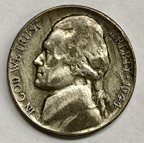 1944 D 5c Jefferson Wartime Silver Alloy Nickel US Coin Average Circulated
