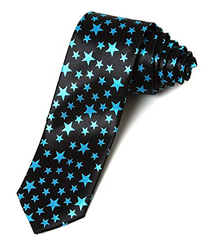 2' Trendy Skinny Tie - Black with Blue Stars