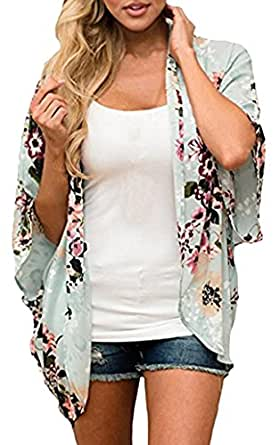 ECOWISH Womens Floral Print Loose Puff Sleeve Kimono Cardigan Lace Patchwork Cover Up Blouse 955 Light Blue S
