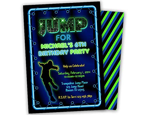 Image Unavailable Not Available For Color Neon Boy Jump Birthday Invitations Trampoline Park Party