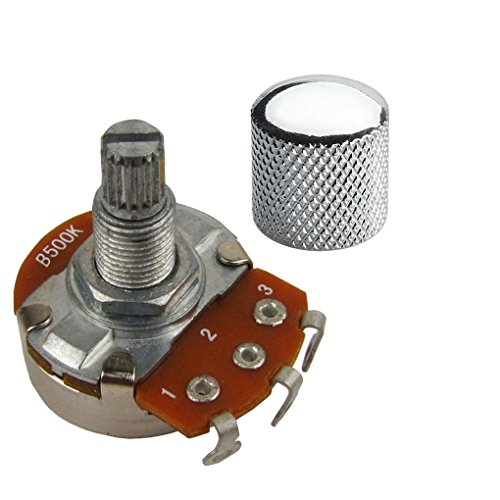 Guitar Potentiometer Pot And Knob A or B Full Size Alpha Volume/Tone Control Knob Pot Push Pull (Long 18mm Shaft B500K)