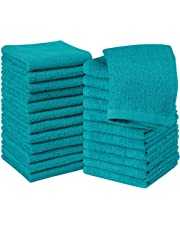 Utopia Towels Cotton Turquoise Washcloths Set - Pack of 24 - 100% Ring Spun Cotton, Premium Quality Flannel Face Cloths, Highly Absorbent and Soft Feel Fingertip Towels