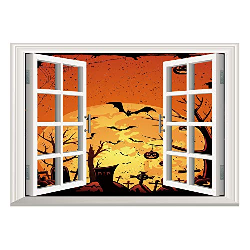 SCOCICI Wall Mural, Removable Sticker, Home Décor/Halloween,Grungy Graveyard Cemetery Necropolis with Bats Pumpkins Crosses Cobweb Decorative,Orange Brown Black/Wall Sticker Mural ()