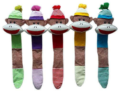 """Multipet Sock Monkey Shaker Head with Tail Dog Toy 21"""" Colors - Sock Supplies Monkey"""