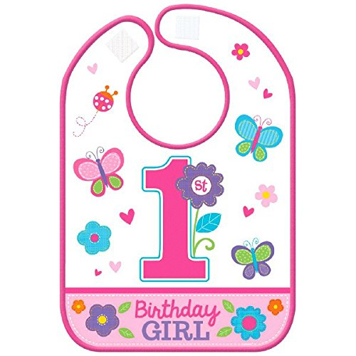 Amscan Sweet Birthday Girl 1st Birthday Vinyl Baby Bib, 14.5