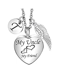 Cremation Urn Necklace for Uncle Angel Wing Charms 26 Initial Letter Alphabet Memorial Keepsake Pendant Ash Jewelry