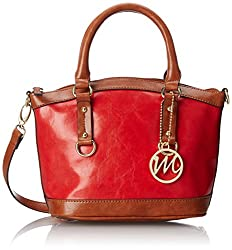 Emilie M. Kimberley Two-Tone Small Dome Satchel Top Handle Bag, Red, One Size
