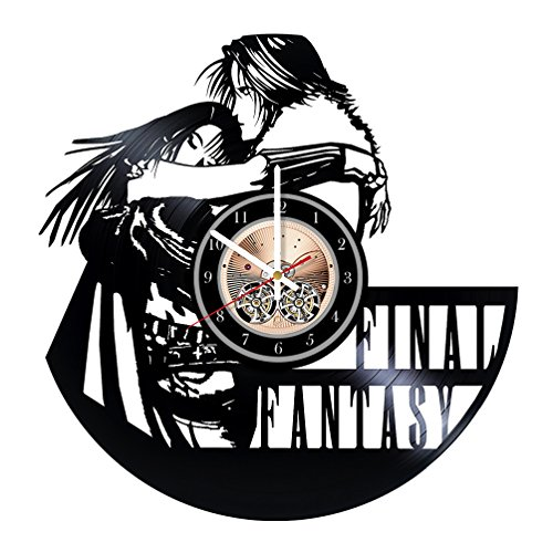 Wood Workshop Final Fantasy Game Vinyl Record Wall Clock - Get unique bedroom or living room wall decor - Gift ideas for him and her (Final Fantasy 1x)