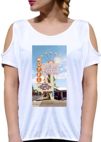 T SHIRT JODE GIRL GGG27 Z0360 MOTEL SUMMER SUNNY ROAD LIFESTYLE FASHION COOL BIANCA - WHITE M
