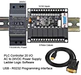 PLC Programmable Logic Controller 12DC inpu,t 8 Relay output, 24VDC, USB interface, w Power Supply