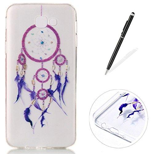 CaseHome Samsung Galaxy J5 Prime gel de Silicona TPU Funda (Con Gratis Lápiz táctil) Guay ModaVistosoPatrónDiseñoCristalClaro Ultra FinoTransparenteEncaja PerfectoFlexibleSuaveCauchoParacho Rosa Colector Ideal