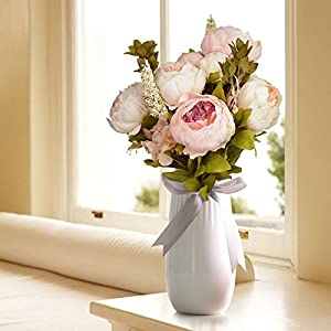 Hmxpls Vintage Artificial Peony Silk Flowers Bouquet, Craft Fake Flowers Floral Decor Glorious Moral for Home Dining-Table Hotel DIY Party Marriage Wedding Christmas Decoration (Light Pink) 5