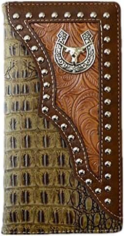 Longhorn Men Wallet Western Bifold Check Book Style W011-6 Crocodile Brown