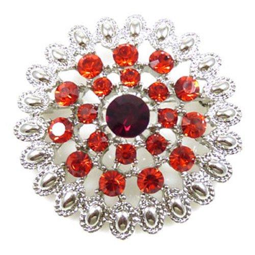 Ruby Silver Brooch (Antique Silver & Ruby Red Swarovski Crystal Heirloom)