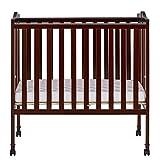 Espresso Solid Pine Locking Wheels Folding Crib