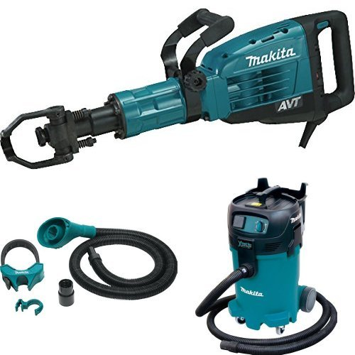 Makita HM1317CB 42 lb. AVT Demolition Hammer, 197172-1 Dust Extraction Attachment, 1-1/8-Inch Hex Shank, VC4710 12-Gal Xtract Vac Wet/Dry Dust Extractor/Vacuum