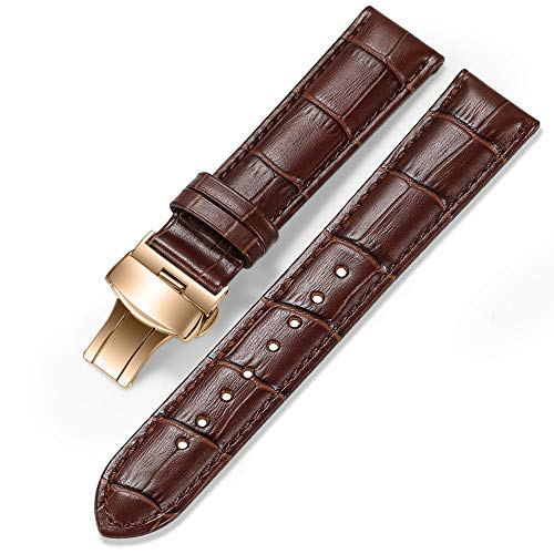 iStrap 20mm Calf Leather Watch Band Strap W/Rose Gold Steel Push Button Deployment Buckle Brown