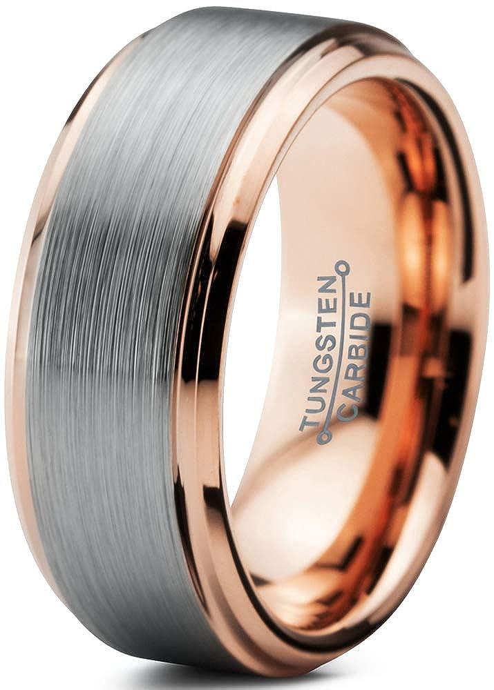 Tungsten Wedding Band Ring 8mm Men Women Comfort Fit 18k Yellow Rose Gold Black Grey Step Bevel Edge Brushed Polished Charming Jewelers