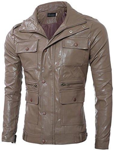 Overcoat Rivestimento Brown Cappotto Motociclo Pelle Jacket Giacca Moda 9561 Jeansian Uomo Del qxw4B8AHA
