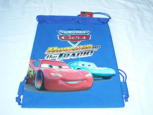 - Disney Drawstring Backpack Gym School Sling Tote Bag (Cars Blue)