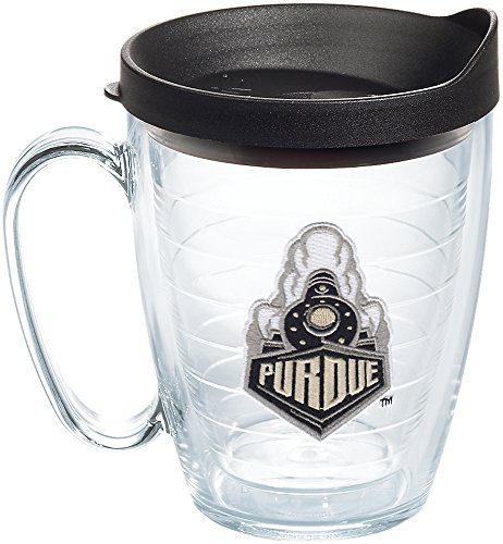 (Tervis 1204044 Purdue Boilermakers Purdue Train Tumbler with Emblem and Black Lid 16oz Mug, Clear)