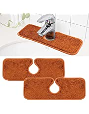 Shitailu 2PCS Faucet Absorbent Mat, Sink Splash Guard, Reusable Microfiber Cloth Pads for Faucet, Counter and Sink. Water Stains Prevent Mats for Kitchen Sinks and Bathroom Sink,Brown