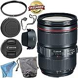 Canon EF 24-105mm f/4L IS II USM Lens 1380C002 + 77mm UV Filter + Fibercloth + Lens Capkeeper Bundle