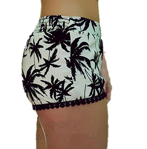 Womens-Small-Balls-Tassel-Edge-Floral-Print-Beach-ShortsYellowGreen
