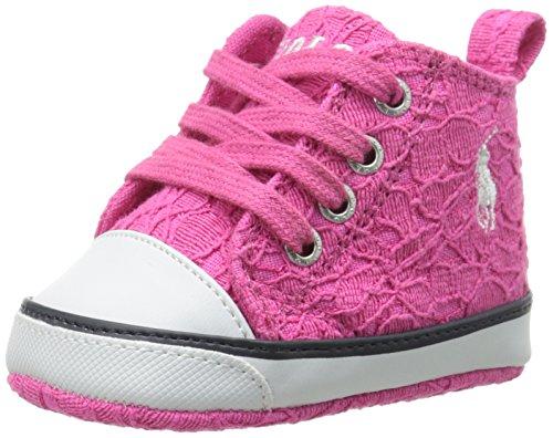 Ralph Lauren Layette Harbour Hi Hi Top Canvas Tie Shoe, Pink Lace, 2 M US Infant (Lauren Lace Ralph Spring)