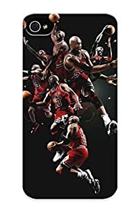 Christmas Gift - PC Case Cover For Iphone 4/4s Strong Protect Case - Michael Jordan Basketball Chicago Bulls Men Males Action Stop Motion Design